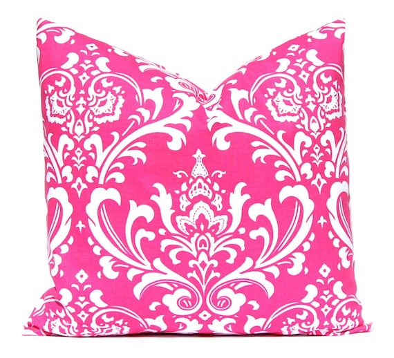 Decorative Pillow Pink : Hot Pink Pillow Covers Pink Damask on White Decorative