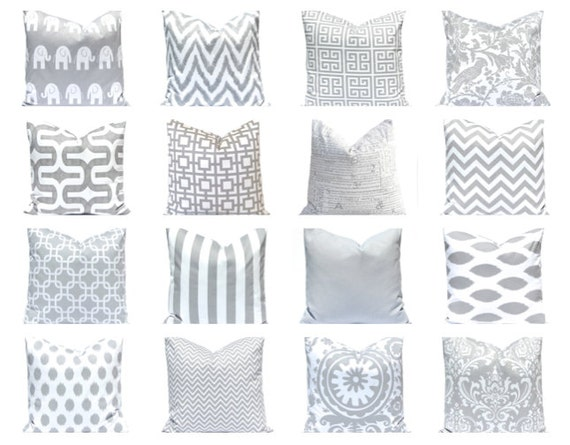 Gray Pillow Covers, Bedroom Decor, Gray and White Pillow Covers, Decorative Pillow Covers, Grey Pillow Cover, Gray Cushion Covers