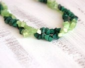 Green bead necklace, cat's eye in peridot color and malachite gemstone chips necklace, long strand necklace