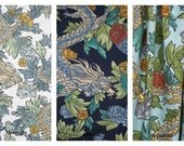 Dwell Studio Ming Dragon, 50x84 UNLINED Rod Pocket Panels, more lengths available - Admiral, Midnight and Aquatint