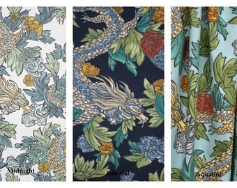 Dwell Studio Ming Dragon, 50x84 LINED Rod Pocket Panels, more lengths available - Admiral, Midnight and Aquatint