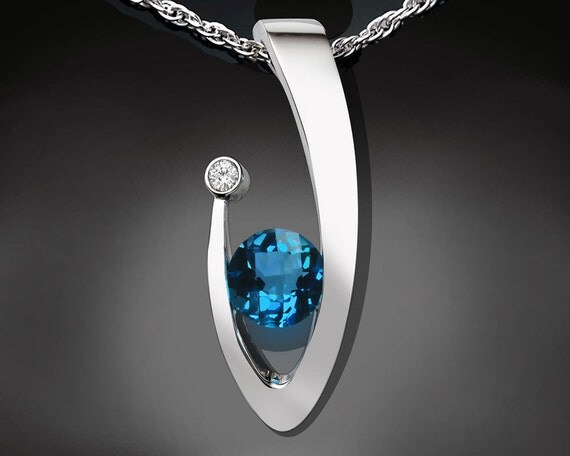 London blue topaz, blue topaz pendant, statement necklace, December birthstone, white sapphire, Argentium silver, fine jewelry - 3418