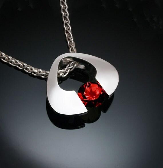 garnet necklace, garnet pendant, January birthstone, silver pendant, Mozambique garnet, red necklace, tension set, Argentium silver 3423