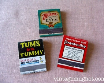 3 Vintage Advertising Matchbook Covers  Tums Prest-o-lite Murine 2 Unused