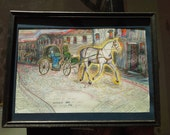 Horse and Carriage :Original Drawing, Framed