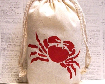 Set of 8 Red Crab Hand Stenciled Muslin Favor Bags 5 x 8