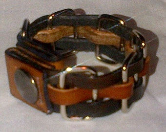 Leather Woven Loop Strip Bracelet