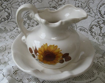 mccoy sunflower pitcher and bowl white ironstone country decor rustic farmhouse decor