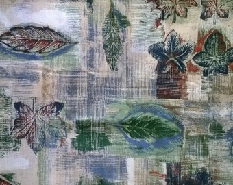 Natural Leaf Print Fabric in Greens, Blues and Browns  By the Yard X0334