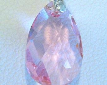 Necklace Pendant Genuine Swarovski Crystal Teardrop Light Rose with Sterling Silver Chain
