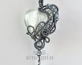 OOAK Clear and grey goth wire wrapped heart pendant