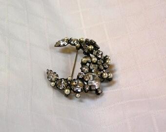 Vintage Schreiner crescent moon sparkling rhinestone and faux pearl brooch