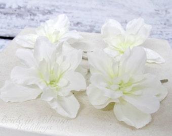 Wedding hair accessories, White delphinium bobby pins hair pins, Set of 4 Bridal hair flowers
