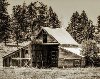 Montana,Kalispell,Barn,Sepia,Wall Art,Home Decor,Canvas Print,Old Barn