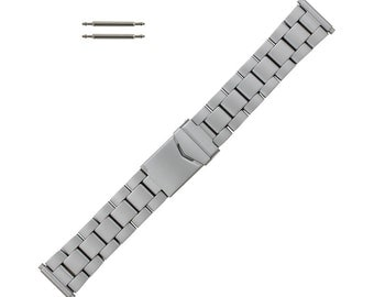 Hadley Roma Metal Watch Band Titanium Finish 18-22mm Expandable Ends