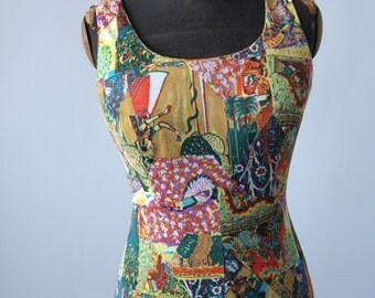 Maxi Dress 1970's Slinky does 30's Multi Color Indian Figure Novelty Print Jersey Fabric Bayberry