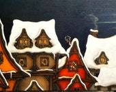 Christmas Holiday Village with a Reindeer on the Roof Original Oil Painting on Canvas