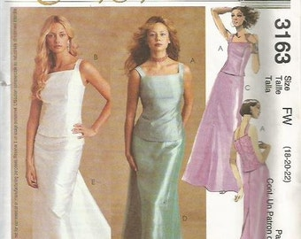 McCalls 3163 Evening Elegance Skirt & Top  Pattern SZ 18-22