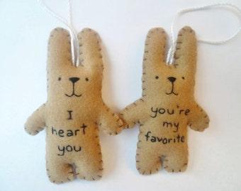 Funny Christmas ornament set felt bunny rabbit decoration youre my favorite I heart you