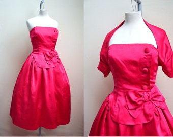 1950s 60s Hot pink Satin strapless gown & bolero, Polly Peck label / eveningwear XS S