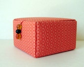 fabric jewelry box, keepsakes box or decorative storage box in orange with silk lining