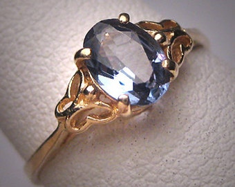 Vintage Sapphire Ring Estate Wedding Butterfly Gold
