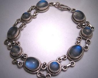 Vintage Moonstone Bracelet Estate Victorian Silver Etruscan