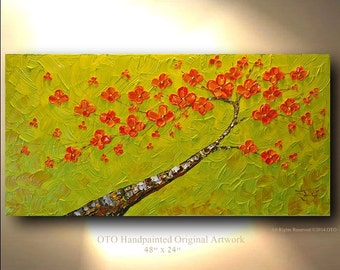 ORIGINAL Oil Painting Green Abstract Flower Tree Red Green Acrylic Landscape Artwork Textured 48x24 Modern art by OTO