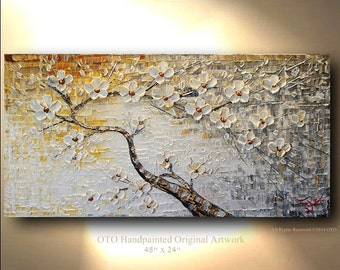 ORIGINAL Painting 24x48 White Flower Gold Brown Grey Flower Abstract  Painting Art Canvas Oil Wall Decor