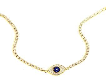 Bracelet - Lucky Evil Eye Bracelet - NEW STYLE - Great Gift, Mom, Sister, Friend, BFF, Kelly Ripa, Protection, Lucky Eye, Pave Set Bracelet