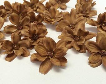 Silk Flowers - 24 Baby Cosmos in Coffee Brown - TINY FLOWERS - Artificial Flowers