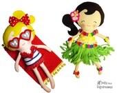 Hula Beach Girl Sewing Pattern PDF - Doll Bikini Bathing Suite option, Towel, Sunglasses, Sunbathing Doll Grass Skirt Leis