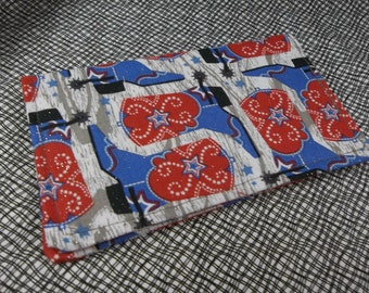 Red White Blue Cowgirl Boots Ladies Checkbook Cover Coupon Holder Clutch Purse Billfold USA Ready Made Ships Now