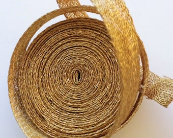 Sinamay Bias Binding 1cm Wide and 2 mtrs long - gold