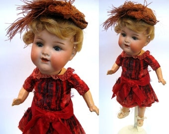 Antique Factory Original Red Silk Doll Dress for Antique Bisque Doll German French Bebe Fashion Doll Princess Elegant Fancy Shabby Vintage