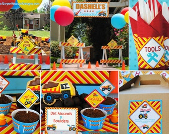 CONSTRUCTION Party Decorations -  Party Package - as seen on Hostess with the Mostess HWTM  - Gwynn Wasson Designs PRINTABLES