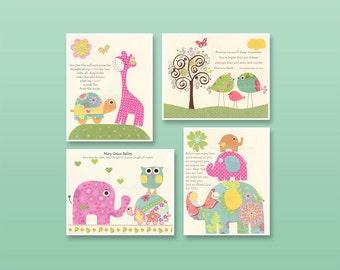 Nursery print, Baby girl Room Decor, Nursery Art, Set of 4 prints...match the colors daisy bedding, kids room art, pink, blue, green, yellow