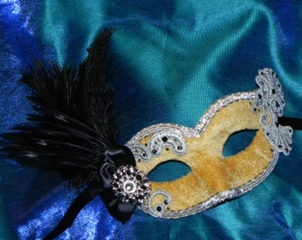 Lace and Feather Masquerade Mask in Shades of Gold, Silver and Black