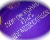 6 hop on board the hot mess express bachelorette party tank tops / bridesmaid tanks / funny half lace bachelorette party shirts / bride tank