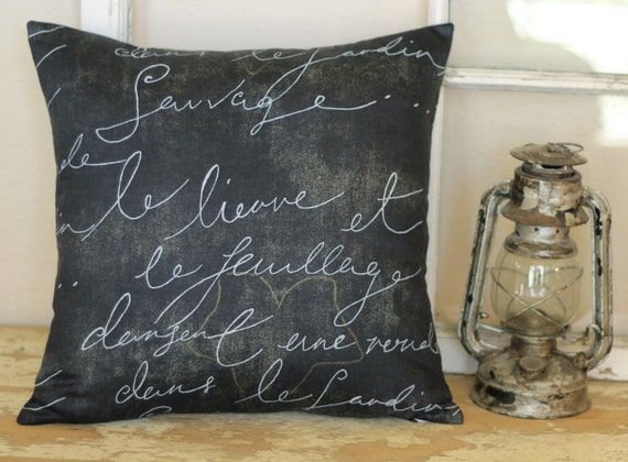 French Script Handwriting Charcoal Black Throw Pillow Cover