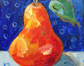 """Pear Painting, Original Oil Painting, Modern Still Live Portrait Painting, Mini Paintioing, Fruit Painting,  5""""x5"""", 1 1/2"""" Canvas, Gift Item"""