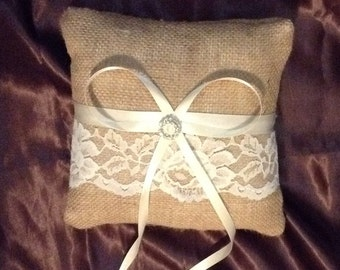 ring bearer pillow burlap and ivory lace