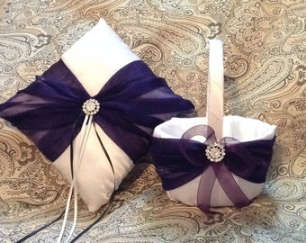 White and purple custom made flower girl basket and pillow