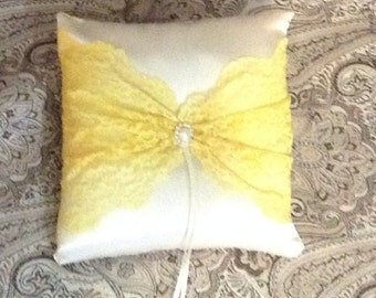 ivory or white satin with yellow lace custom made  pillow