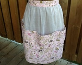 Fresh floral Vintage white organza and retro pink fabric vintage apron