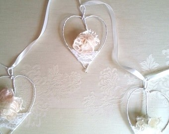 Lace Wedding garland 4 hearts, Wedding romantic decor, Wedding Shabby Chic decor, Gift hearts Ornaments ,Personalized lace garland.
