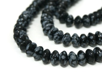 Black Snowflake Obsidian gemstone beads, 8mm x 4mm rondelle, Full & Half strands available  (812S)