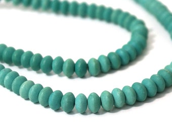 Matte Chalk Turquoise beads / aqua green gemstone / 6mm x 4mm rondelle / FULL or HALF strands available (1002S)