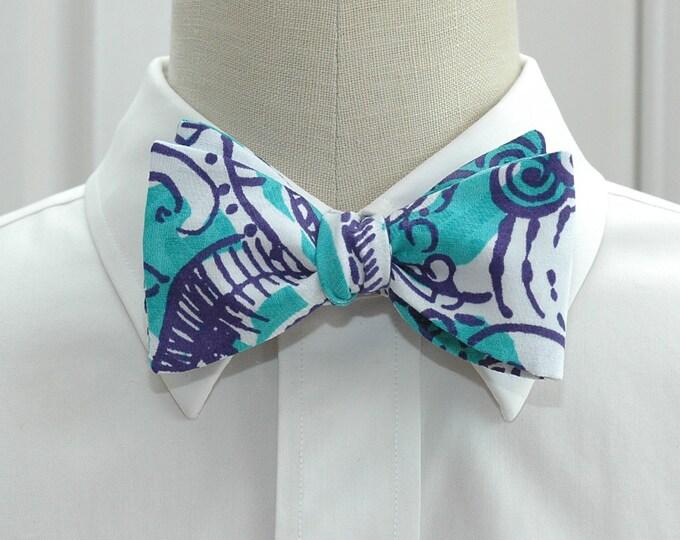 Men's Bow Tie in Lilly teal & purple Montauk Beach self-tie bow tie, groomsmen's gift, wedding party wear, formal menswear, tuxedo accessory