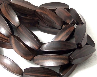 "Ebony Wood, ""Starfruit"" Tube, 10mm x 34mm, Smooth, Long, Large, Chunky, Pointed, Unique, Focal Bead, Natural Wood Beads, 6pcs - ID 1904"